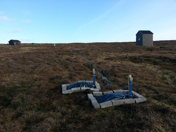 Two of the measurement electrodes at Lerwick observatory in the Shetland Islands. Credit: British Geological Survey©NERC.
