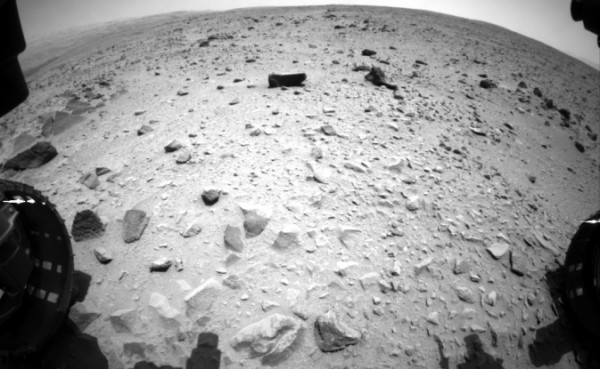 NASA's Curiosity Mars rover captured this image with its left front Hazard-Avoidance Camera (Hazcam) just after completing a drive that took the mission's total driving distance past the 1 kilometer (0.62 mile) mark. Image credit: NASA/JPL-Caltech