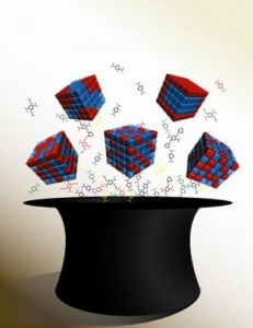 Berkeley scientists have developed a method that accurately predicts the adsorptive properties of crystalline MTV-MOF systems. Credit: (Image courtesy of Berkeley Lab)