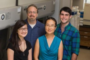 Rice University researchers have laid the groundwork for rules to custom-design viral vectors for gene therapy. From left, graduate student Michelle Ho, Professors Jonathan Silberg and Junghae Suh and Rice senior Benjamin Adler. Credit: Jeff Fitlow/Rice University