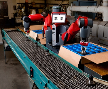 Baxter is designed to perform simple assembly-line tasks, such as packing and unpacking.