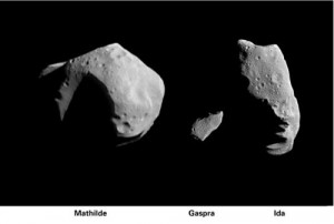 These photos show the relative size of three asteroids that have been imaged at close range by spacecraft. Mathilde (37 x 29 miles) (left) was taken by the NEAR spacecraft on June 27, 1997. Images of the asteroids Gaspra (middle) and Ida (right) were taken by the Galileo spacecraft in 1991 and 1993, respectively. Credit: NASA/JPL/NEAR and Galileo missions