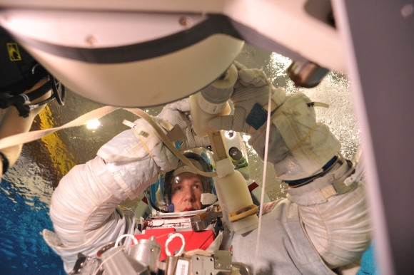 Safety in spaceflight comes from working the procedures in training so often that responses become automatic, says German astronaut Alexander Gerst, shown here during spacewalk training underwater. Credit: NASA