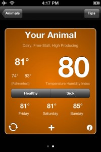 The app calculates an animal's Temperature Humidity Index and changes color depending on an animal's severity of heat stress.