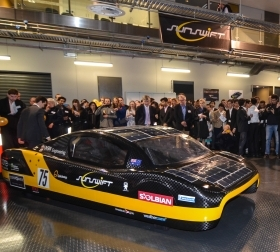 Sunswift's fifth generation car eVe unveiled at UNSW (Credit: Sunswift)