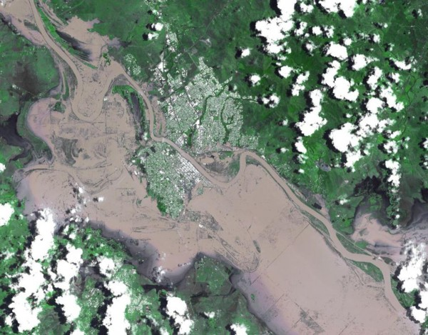 The city of Rockhampton, Queensland, Australia, shown in a satellite photo, was completely inundated by the floods. Credit: NASA