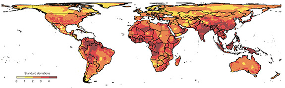 Researchers from Princeton University and the University of California-Berkeley suggest that more human conflict is a likely outcome of climate change. The researchers found that 1 standard-deviation shift — the amount of change from the local norm — in temperature and precipitation greatly increase the risk of personal violence and social upheaval. Climate-change models predict an average of 2 to 4 standard-deviation shifts in global climate conditions by 2050 (above), with 4 representing the greatest change in normal conditions. (Image by Science/AAAS)