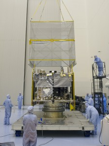 NASA's Mars Atmosphere and Volatiles Evolution (MAVEN) spacecraft is seen inside the Payload Hazardous Servicing Facility on Aug. 3. 2013 at the agency's Kennedy Space Center in Florida. MAVEN will be prepared inside the facility for its scheduled November launch to Mars.