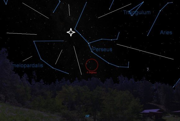 The radiant for the Perseids, looking to the NE from latitude ~30N at around 2AM local. Created by the Author in Starry Night).
