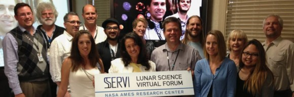 Members and student involved with the former NASA Lunar Science Institute pose with a sign designating the Institute's new name, the Solar System Exploration and Research Virtual Institute. Credit: SSERVI.