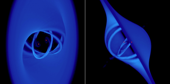 A binary black hole pair with an accretion disk inclined 45 degrees. One can see the concentric rings before they are accreted onto the black holes. Source: Nixon et al.