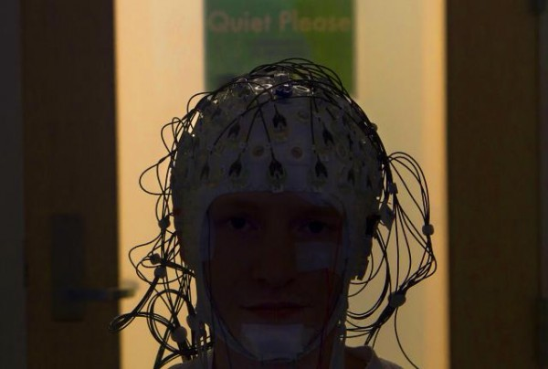 In a sleep lab on Brown's campus researchers use caps of EEG sensors in studies of how the brain works to consolidate learning visual tasks.