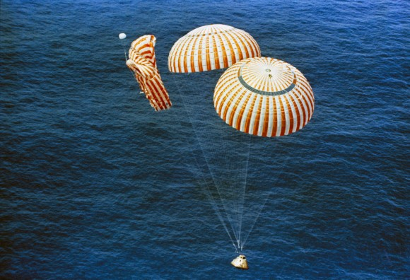 Only two of three parachutes worked correctly for the return of Apollo 15. Credit: NASA.