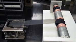 A sheet of aligned carbon nanotubes is rolled on a cylinder. Credit: Copyright Wiley-VCH Verlag GmbH & Co. KGaA. Reproduced with permission.