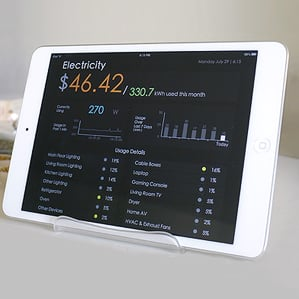 Powerful stuff: Belkin's Echo Electricity aims to track how much power is used by the various appliances in the home. Here, an iPad runs a demo electricity-monitoring app in the home of Sidhant Gupta, a Belkin researcher.