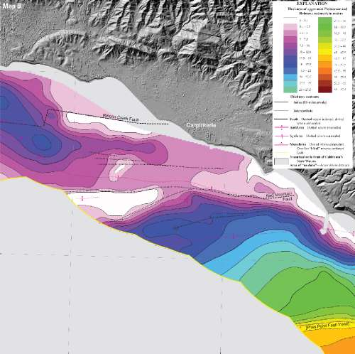 Map showing thickness of bottom sediment in the Santa Barbara Channel offshore Carpinteria, Calif. Excerpt from USGS map SIM 3261, Sheet 9, inset Map B. Location: Santa Barbara Channel offshore Carpinteria, CA, USA. Date Taken: 2013
