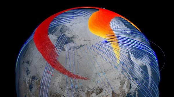 Model and satellite data show that four days after the bolide explosion, the faster, higher portion of the plume (red) had snaked its way entirely around the northern hemisphere and back to Chelyabinsk, Russia. Image Credit: NASA's Goddard Space Flight Center Scientific Visualization