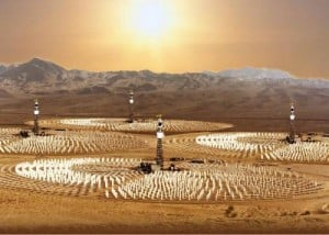 This is an artist's concept of a commercial hydrogen production plant that uses sunlight to split water in order to to produce clean hydrogen fuel. Credit: University of Colorado