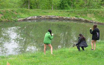 Students explore the pond ecosystem using ECOMobile on smartphones.
