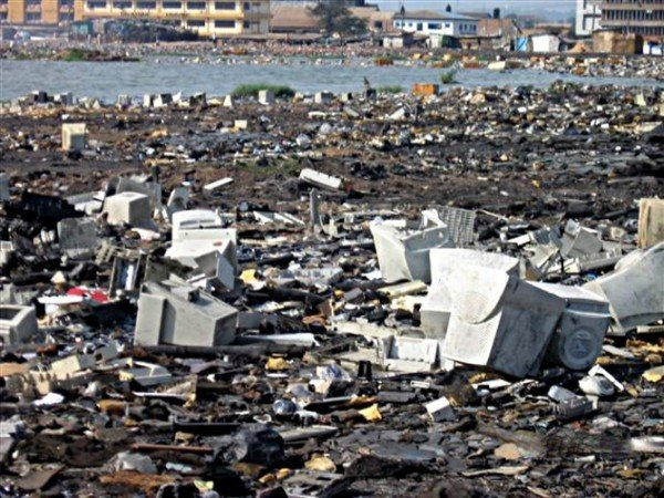 An expanding sea of junk in Lagos. Credit: Margaret Bates