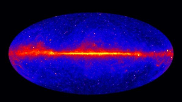 This view shows the entire sky at energies greater than 1 GeV based on five years of data from the LAT instrument on NASA's Fermi Gamma-ray Space Telescope. Brighter colors indicate brighter gamma-ray sources. Image Credit: NASA/DOE/Fermi LAT Collaboration