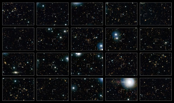 """This image shows 20 of the quenched galaxies — galaxies that are no longer forming stars — seen in the Hubble COSMOS observations. Each galaxy is identified by a crosshair at the centre of each frame.  Quenched galaxies in the distant Universe are much smaller than those seen nearby. It was thought that these small galaxies merged with other smaller, gas-free galaxies to grow bigger, but it turns out that larger galaxies were """"switching off"""" at later times and adding their numbers to those of their smaller and older siblings, giving the mistaken impression of individual galaxy growth over time."""