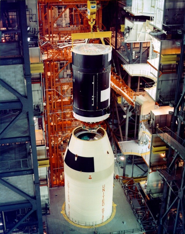 The Skylab space station is mated to a Saturn V rocket in the Vehicle Assembly Building on Sept. 29, 1972. Image Credit: NASA