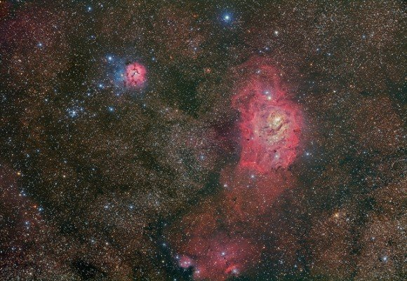 The Lagoon Nebula M8 (NGC 6523) , The Trifid Nebula M20 (NGC 6514), Star cluster M21 and star forming region NGC6559. Credit and copyright: Terry Hancock/Down Under Observatory.