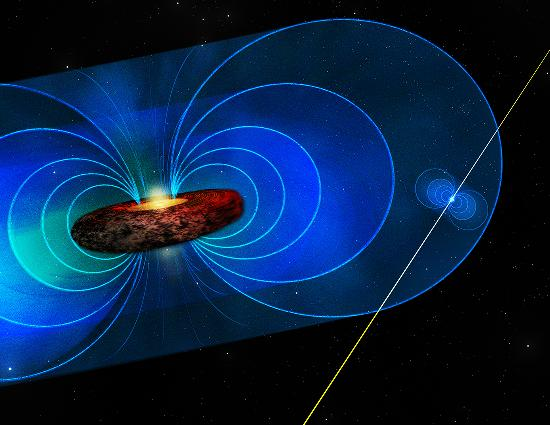 Artist's conception of PSR J745-2900 and Galactic Center.