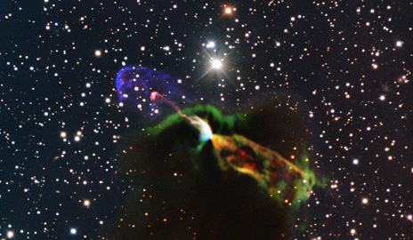 Star formation is an even more intense and dynamic process than previously thought, according to research led by Yale astronomer Héctor Arce. As stars form in clouds of gas and dust, they shoot powerful jets of gas and other raw material outward. Analysis of fast-moving emissions from a well-known protostar shows that they are moving at greater velocities than previously measured. (Image by ESO/ALMA (ESO/NAOJ/NRAO)/H. Arce. Acknowledgements to Bo Reipurth)