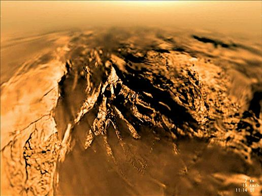 This image of the surface of Saturn's moon Titan was obtained by the European Space Agency's Huygens Probe on Jan. 14, 2005, after it was delivered to Titan by NASA's Cassini spacecraft. Image Credit: ESA/NASA/JPL/University of Arizona