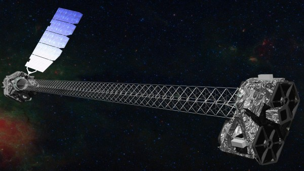 Artist's concept of NuSTAR on orbit. NuSTAR has a 10-m (30') mast that deployed after launch to separate the optics modules (right) from the detectors in the focal plane (left). Image Credit: NASA/JPL-Caltech