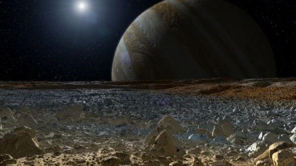 This artist's concept shows a simulated view from the surface of Jupiter's moon Europa. Image Credit: NASA/JPL-Caltech