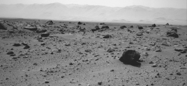 NASA's Mars rover Curiosity used the Navigation Camera (Navcam) on its mast to record this westward look on the 347th Martian day, or sol, of the rover's work on Mars (July 28, 2013). Image Credit: NASA/JPL-Caltech