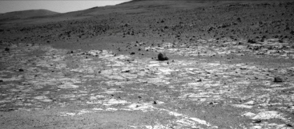 "This view from NASA's Mars Exploration Rover Opportunity shows an area where a pale-toned geological unit called the ""Burns Foundation,"" in the foreground, abuts a different geological unit. Image Credit: Image credit: NASA/JPL-Caltech"