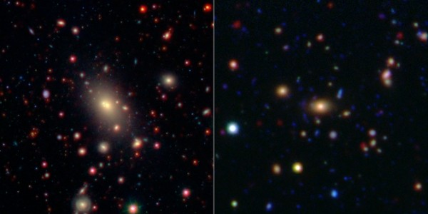 This image shows two of the galaxy clusters observed by NASA's Wide-field Infrared Survey Explorer (WISE) and Spitzer Space Telescope missions. Image Credit: NASA/JPL-Caltech/SDSS/NOAO