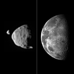 This illustration provides a comparison for how big the moons of Mars appear to be, as seen from the surface of Mars, in relation to the size that Earth's moon appears to be when seen from the surface of Earth. Image Credit: NASA/JPL-C
