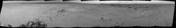 This mosaic of images from the Navigation Camera (Navcam) on NASA's Mars rover Curiosity shows the scene from the rover's position on the 376th Martian day, or sol, of the mission (Aug. 27, 2013). Image Credit: NASA/JPL-Caltech