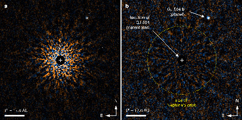 """Figure 1: Near-infrared color composite images of a """"second Jupiter"""" around the Sun-like star GJ 504. A coronagraph and differential techniques suppress the bright light from the central star. On the left is the intensity image, which shows the radiant power passing through the area, while on the right is the signal-to-noise ratio image, which shows the weakest signal that the detecting system can recognize. (Credit: NAOJ)"""