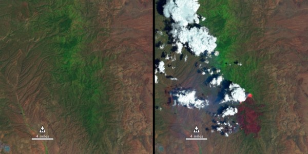"""The """"before"""" image (left) is a false-color Landsat 8 image acquired May 28, 2013. The """"during"""" image was acquired, June 13, 2013, while the New Mexico Silver Fire was still growing. (The white puffs with black shadows in the right image are clouds.). Image Credit: USGS/NASA"""
