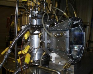 A laboratory model of a multi-tube solar reactor at the University of Colorado Boulder that can be used to split water in order to produce clean hydrogen fuel. (Photo courtesy University of Colorado Boulder)
