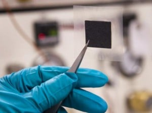 This is an example membrane -- a cost-efficient and durable alternative for fuel cells consisting of two electrodes with a clear membrane sandwiched between them. Credit: Patrick Mansell