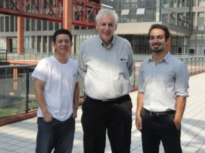Left to right: Theoretical physicists and collaborators Xing-Gang Wu, Stan Brodsky and Matin Mojaza. Credit: Matin Mojaz
