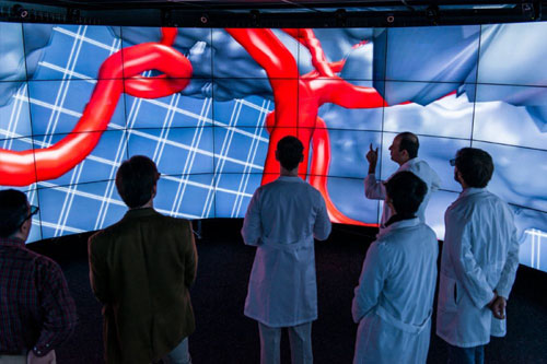 """A team of neurosurgeons from the College of Medicine at the University of Illinois at Chicago (UIC) recently stepped into CAVE2--a next-generation, large-scale, virtual environment--to solve a vexing problem that presented itself in the arteries of the brain of a real patient. The method they used could someday benefit hundreds of thousands of Americans who fall victim to brain aneurysms and strokes, the third leading cause of death in the United States. Andreas Linninger is a professor of bioengineering and lead researcher of a project that measures and models blood flow in the brains of patients with stroke. For years, he and neurosurgeons had used laptop and desktop computers to evaluate patient-specific images. But because of the limited image spatial-resolution of even the best-quality laptop and desktop computers, there was something the neurosurgeons couldn't see. That is, until they stepped into CAVE2. """"We had been looking at computer models of a particular patient's brain for several months,"""" said Linninger, """"but within five minutes of putting the model into the CAVE2, the chief endovascologist said we had connected certain arteries in a way that was inconsistent with anatomy."""" With that revelation, their model could be corrected. Read more in this news release. Credit: Lance Long for Electronic Visualization Laboratory, University of Illinois at Chicago"""