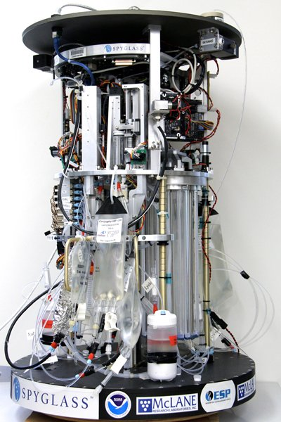 The Environmental Sample Processor, or ESP, shown here without its protective casing, is an autonomous water-sampling robot that detects microorganisms using DNA probes and remotely relays the results to scientists over the Internet.