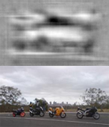 With each of the raw images of the photos in color, today's state-of-the-art object-detection algorithms make errors — such as identifying a car (above) — that initially seem baffling. A new technique enables the visualization of a common mathematical representation of images (in black and white), which should help researchers understand why their algorithms fail.