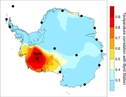 A recent study funded by NSF finds that the western part of the massive West Antarctic Ice Sheet (WAIS) is experiencing nearly twice as much warming as previously thought. The temperature record from Byrd Station, an unmanned scientific outpost in the center of the ice sheet, demonstrates a marked increase of 4.3 degrees Fahrenheit (2.4 degrees Celsius) in average annual temperature since 1958. That is three times faster than the average temperature rise around the globe. The findings place West Antarctica among the fastest warming regions on Earth, according to Andrew Monaghan, study co-author and scientist at the National Center for Atmospheric Research (NCAR). Researchers consider the WAIS to be especially sensitive to climate change, says Ohio State University doctoral student Julien Nicolas. Since the base of the ice sheet rests below sea level, it is vulnerable to direct contact with warm ocean water. Its melting currently contributes 0.3 millimeters (mm) to sea level rise each year--second to Greenland, whose contribution to sea level rise has been estimated as high as 0.7 mm per year. Read more in this news release.  Credit: Ohio State University