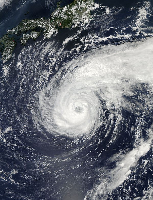 The MODIS instrument aboard NASA's Aqua satellite captured this image of Typhoon Pabuk on Sept. 24 at 04:05 UTC as it was nearing Japan. High clouds drape over Pabuk's eye. Image Credit: NASA Goddard MODIS Rapid Response Team