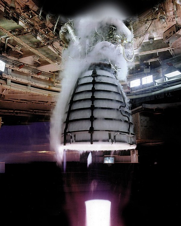 Four RS-25 engines, like the one pictured undergoing a hot-fire test, will power the core stage of NASA's Space Launch System (SLS) -- NASA's new heavy-lift launch vehicle. Image Credit: Aerojet Rocketdyne