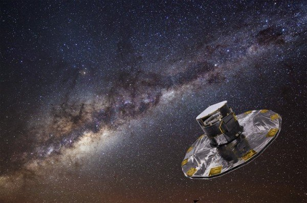 Artist's conception of Gaia mapping the stars of the Milky Way.